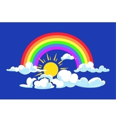 Sun rainbow and clouds deep blue sky vector image vector image