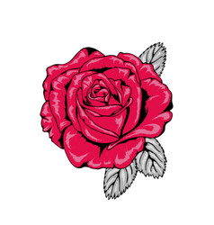 Tattoo style red rose with black outlines v1 vector