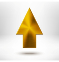 Up Arrow Sign with Gold Metal Texture vector image