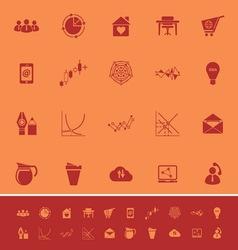 Virtual organization color icons on orange vector