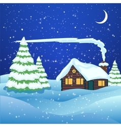 Winter landscape with house in forest vector image vector image
