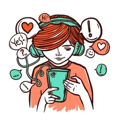 Young Girl In Headphones With Smartphone vector image vector image