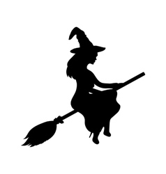Young witch flying on a broomstick vector