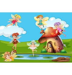Many fairies flying over the pond vector