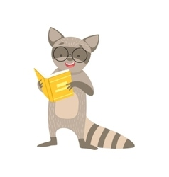 Raccoon Smiling Bookworm Zoo Character Wearing vector image