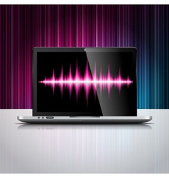 Technology styled design with shiny laptop device vector