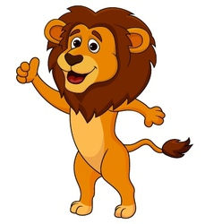 Cute lion cartoon thumb up vector
