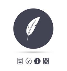 Feather sign icon retro pen symbol vector