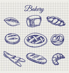 Bakery products on notebook page vector