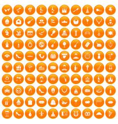 100 banquet icons set orange vector