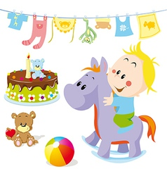 Baby on rocking horse vector