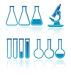 set of laboratory equipment icons science concept vector image