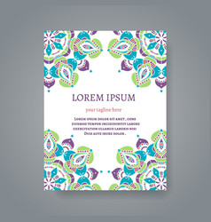 Card or invitation with hand drawn Indian motifs vector image