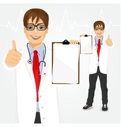 Male doctor holding a clipboard vector