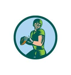 American football qb throwing circle woodcut vector