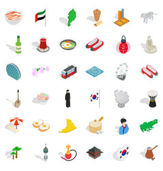Asia icons set isometric style vector