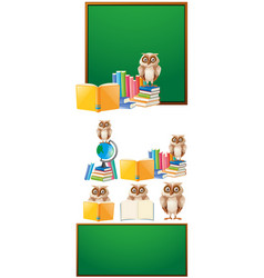 board template with owl and books vector image