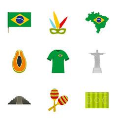 Brazilan symbols icon set flat style vector