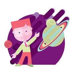 child student engaged in astronomy vector image