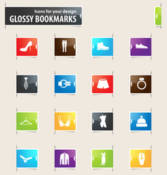 clothing store bookmark icons vector image