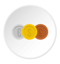 Coins euro with dollar and pound icon circle vector
