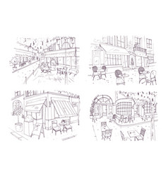 collection of freehand sketches of outdoor cafe or vector image vector image