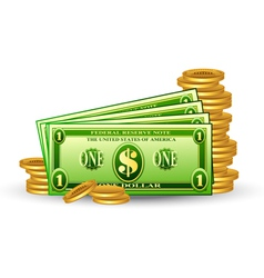 dollar pack with coins vector image vector image