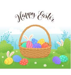 easter basket with eggs vector image