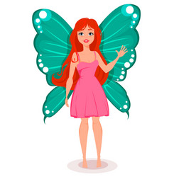 Fairy with butterfly wings beautiful redhead vector