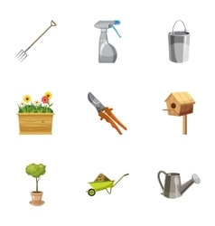 Farming icons set cartoon style vector image vector image