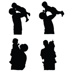 father holding baby silhouette vector image vector image