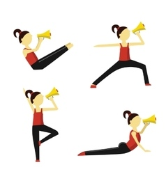 Fitness instructor says into a megaphone vector image vector image