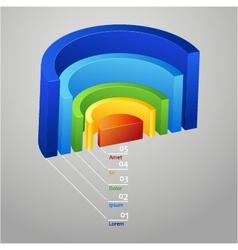 Half - circle colorful 3d diagram vector