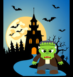 halloween background with frankenstein and full vector image
