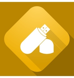 Icon of flash drive with a long shadow vector