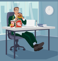 Manager snacking fast food in workplace vector