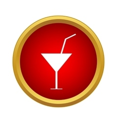 Martini glass with cocktail icon simple style vector image