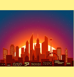 modern cityscape in the morning big city scene vector image vector image