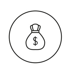 Money bag with dollar icon vector