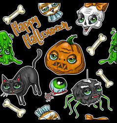 pattern of halloween element patches pumpkin vector image vector image