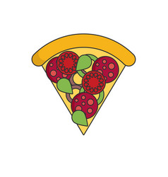 Pizza in color flat icon style vector