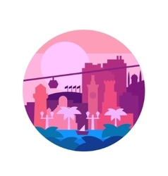 Quality painted flat colors and the city o palm vector