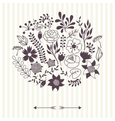 Romantic background of various flowers in retro vector