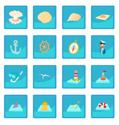 sea icon blue app vector image