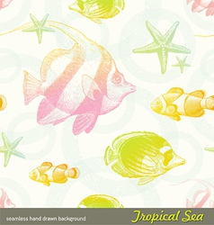 Seamless hand drawn background - tropical fishes vector image vector image