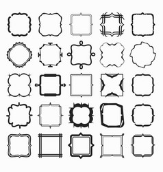set of black different styles line frame works vector image vector image