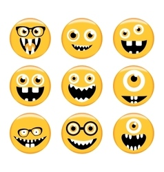 Set of emoticons emoji monster faces in glasses vector