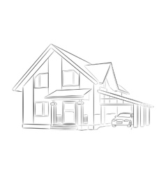 Sketch of a private house vector image