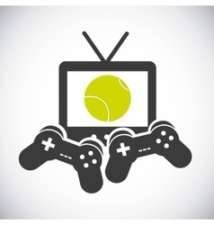 Tv game control ball and racket icon tennis vector