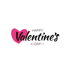Valentines Day Lettering Card with Pink Heart vector image